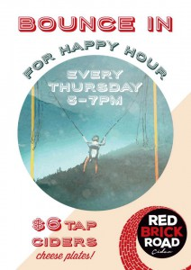 Happy Hour Every Thrursday at Red Brick Road Ciderhouse